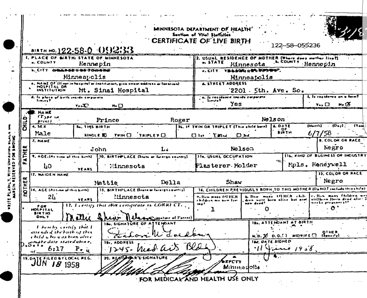 Princes legal name prince roger nelson apologies for the delay in uploading the images but its done now first princes actual birth certificate aiddatafo Choice Image